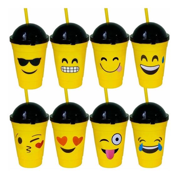 48 Copo De Plástico Emoticons Emoji Tampa E Canudo 8 Modelos