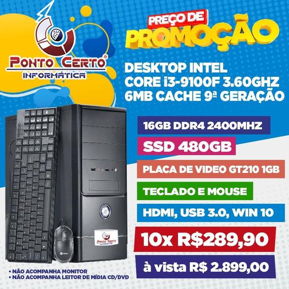 Micro Computador Intel I3 9ªger 16gb Ddr4 Ssd480gb Gt210 1gb