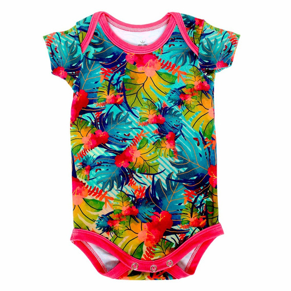 Body Bebê Estampado Manga Curta Tropical - Isabb