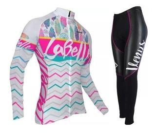 Conjunto Ciclismo Bike Feminino Camisa Oggi La Belle Branca Rosa Manga Longa Calça Skin Venus Preta Lilás C/ Forro