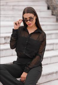 Roupa Feminina/ Camisa Black Com Transparência Barata