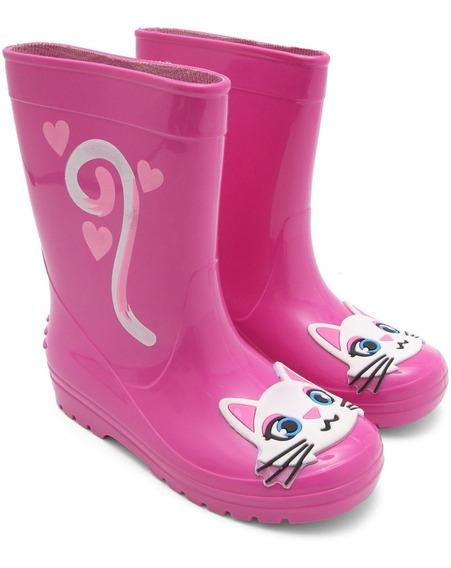 Bota Galocha Infantil Luelua Gatinha Glitter Pink