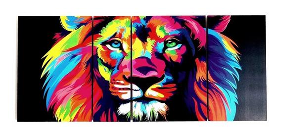 Cuadro Leon Full Color Poliptico Decoracion Moderno Animales