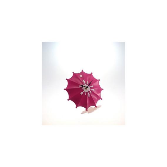 Relógio De Mesa Guarda Chuva Rosa Pink Plástico 15x15 Cm