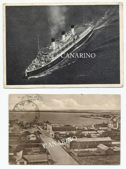 Lote 8 Antiguas Tarjetas Postales Circuladas Barco Toros Etc