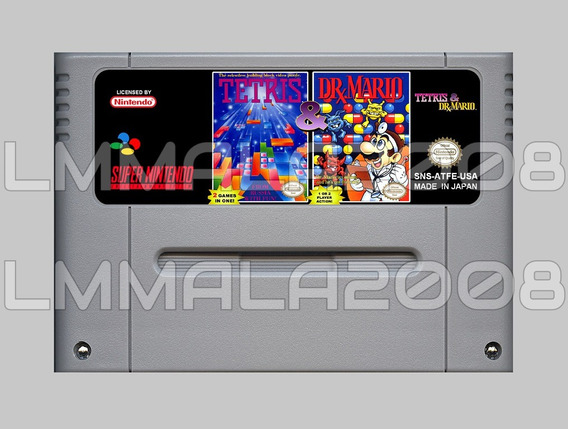 Tetris E Dr Mario 2 Jogo Inglês Original Super Nintendo Snes