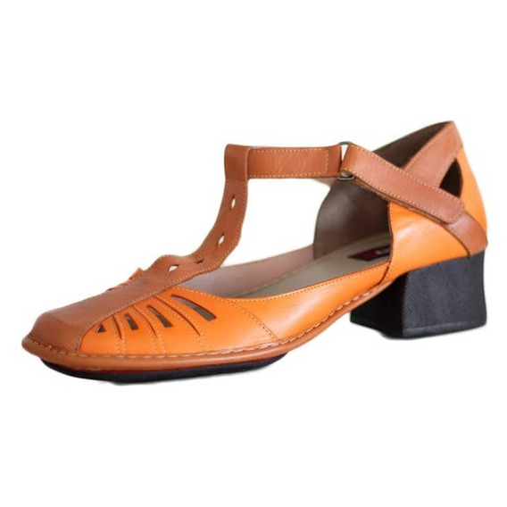 Sapato Confortável Em Couro Na Cor Laranja Ck0081 Compre Já!