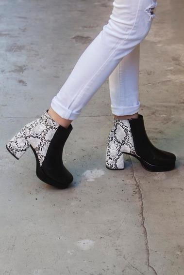 Zapatos Botas Botinetas Dallas Reptil Mujer Cuero