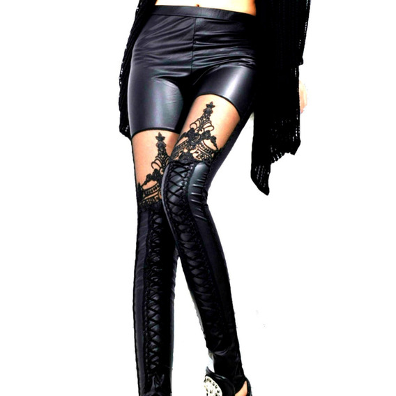 Sexy Cuero Leggings Personalizada Encaje Con Cordones