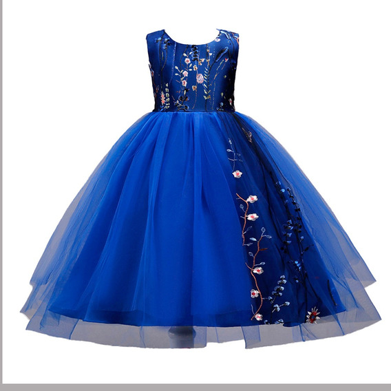 Vestido Niña Fiesta Bordador Floral/cumpleaños/azul Rey
