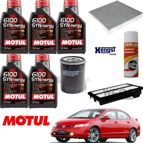 Kit Revisão Motul 6100 5w40 Honda Civic Si 2.0 2007a11