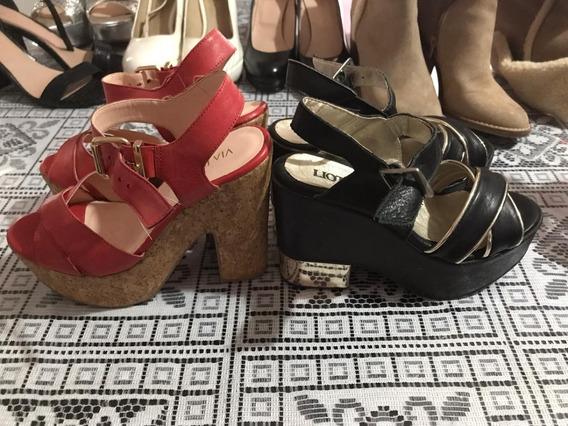 Zapatos Sandalias De Dia Y De Noche Abiertas Con Taco