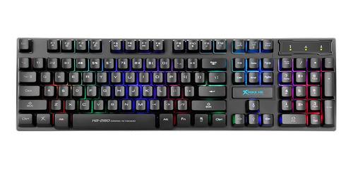 Imagen 1 de 2 de Teclado gamer Xtrike-me KB-280 QWERTY español color negro con luz rainbow