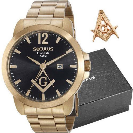 Kit Relógio Seculus Masculino Maçonaria 28973gpskda1k1