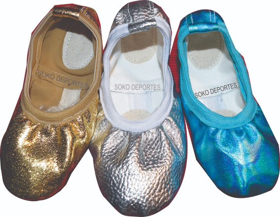 Zapatillas Doradas Plateadas Metalizadas Media Punta Elastizadas Soko