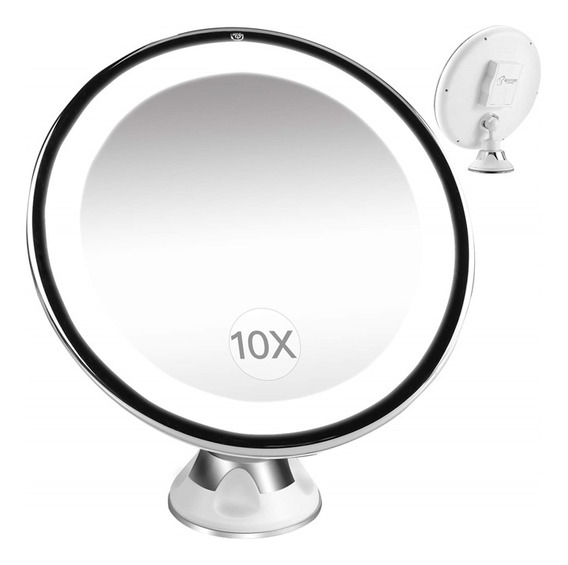 Espelho De Maquiagem E Barba Led Aumento 10x Para Banheiro