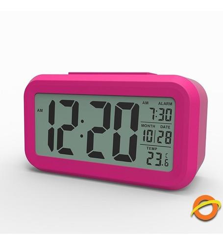 Imagen 1 de 5 de Reloj Despertador Sensor Luz Lcd Digital Alarma Temperatura