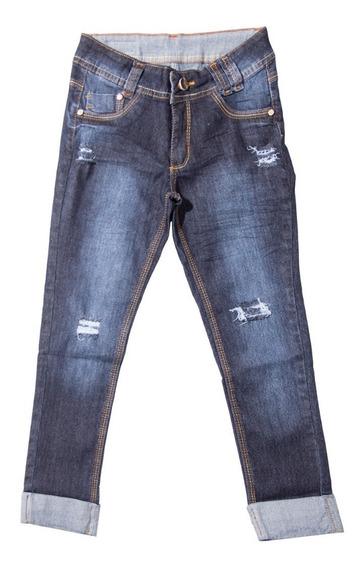 Calça Jeans Meninas Juvenil Cropped Tamanhos 10 Ao 16 Rasgos