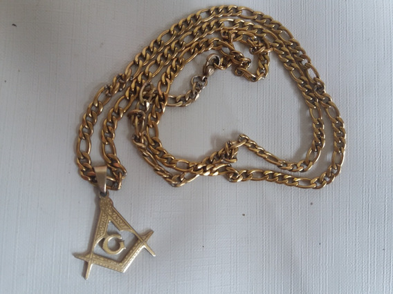 Cordão Corrente 3x1 6mm Cor Ouro Em Aço Com Pingente Masson