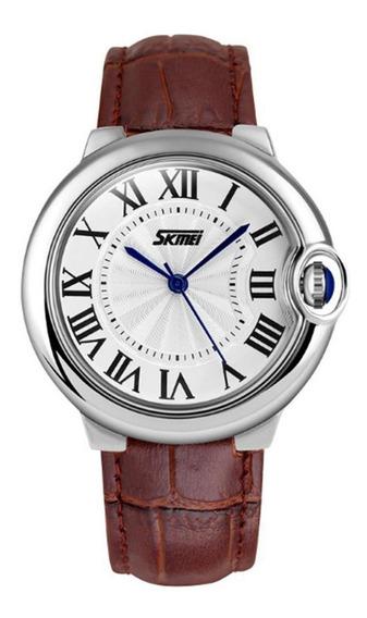 Relógio Analógico Feminino Skmei 9088 Marrom E Prata