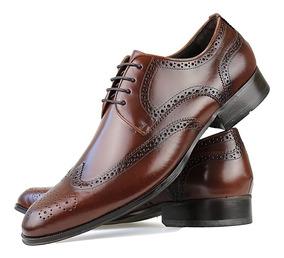 Sapato Social Oxford Masculino Couro Legitimo Preto Solado