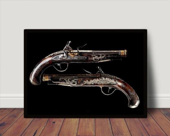 Poster Com Moldura Garruchas Revolver Antigo P1469