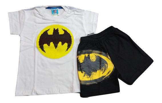 Conjunto Remera Lentejuela Reversible Short Batman