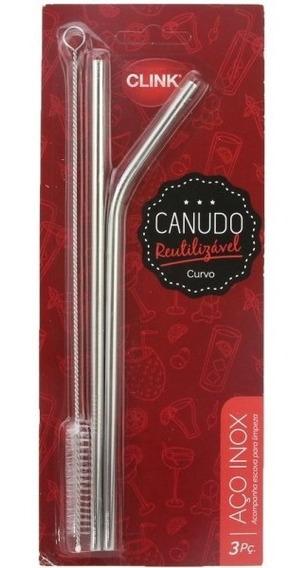 Canudo Inox Com Escova Para Limpeza Reutilizável Clink