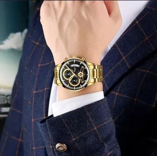 Relógio Masculino Dourado De Luxo À Prova D
