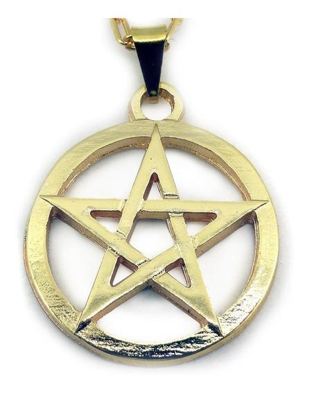 Colar Pentagrama Vazado Estrela De Cindo Pontas