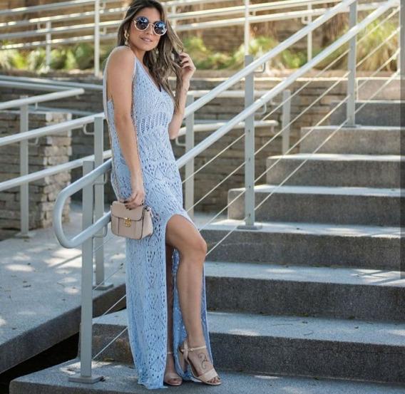 Vestido Longo Tricô Primavera Verão Azul Moda Fashion Novela