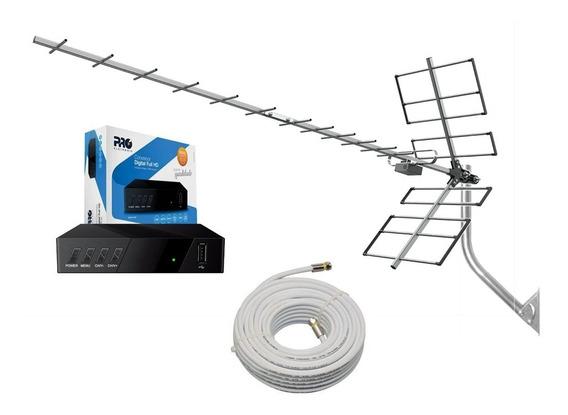 Kit Antena + Conversor Digital Proeletronic + Cabo + Suporte