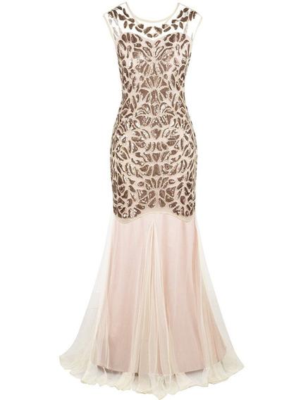 Gatsby Mujer 1920s Beige Champagn Prettyguide Vestido Noche