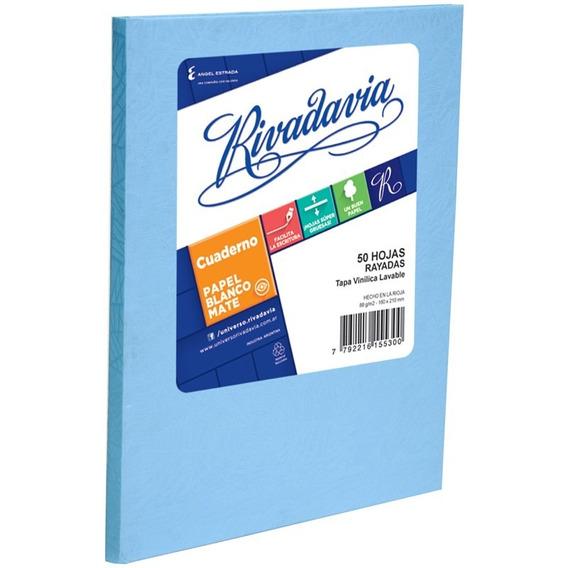 Cuaderno Rivadavia Tapa Dura X 50 Hojas Rayado Celeste