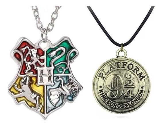Kit Colar Cordão Harry Potter Brasão Hogwarts + Plataforma 9