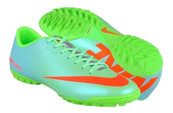 Tenis De Fútbol Nike Para Hombre Simipiel Azul Con Verde 555