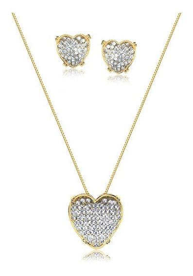 Conjunto Coração Luxo Zirconias Cristal Banhado Ouro Amarelo