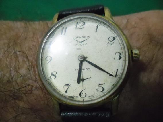 Relógio Loengrin Suiço Corda Micron 34x41m Funcionando Raro
