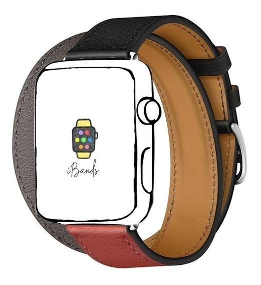 Pulseira Ibands Couro Legítimo Double Tour Para Apple Watch
