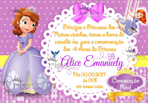 Arte Convite Digital Princesa Sofia Imprimir Em Casa R 15 00 Em