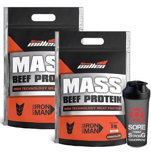 2x Hipercalorico Mass Beef Gainer 3k + Shaker