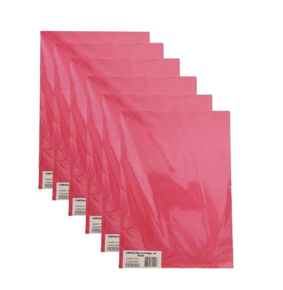 Kit 10 Pct Cartolina Cortada A4 Rosa-escuro 500 Fls -pereira
