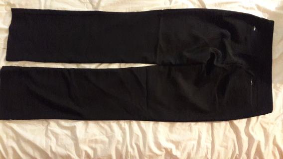 Pàntalon Materia Talle S Color Negro De Gabardina Elastizada