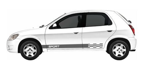 Kit Adesivo Sport Faixa Lateral Celta Prisma Tuning Imp304