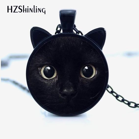 Colar Gato Preto Proteção Vidro