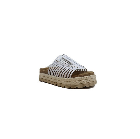 Zapato Mujer Sandalia Plataforma Natacha Cuero Blanco #222