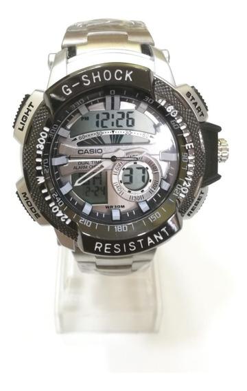 Relógio Masculino Aço Dual Time Com Luz