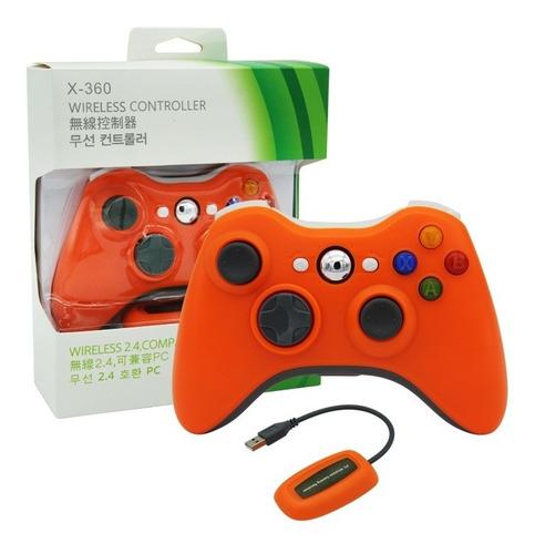 Joystick Inalambrico Xbox 360 Y Pc Receptor Usb Naranja