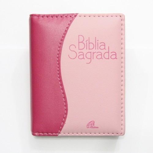 Bíblia Sagrada Capa De Couro Rosa Pequena 14 Cm X 11 Cm