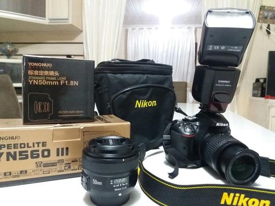 Kit Nikon D5300 Semi NovaFlash, Lente 18-55mm Lente 50mm